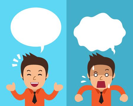 Cartoon homme d'affaires exprimant différentes émotions avec des bulles blanches Banque d'images - 75435747