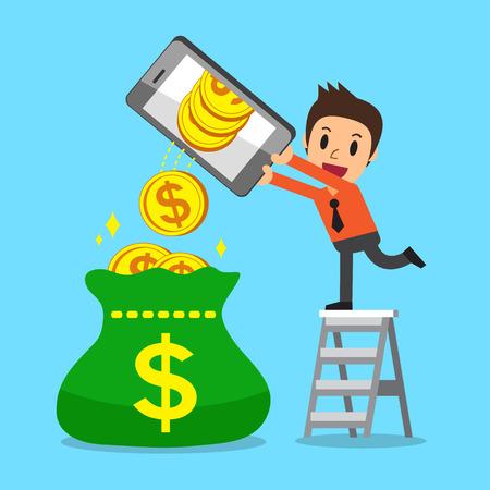 Cartoon a businessman using smartphone to earn money