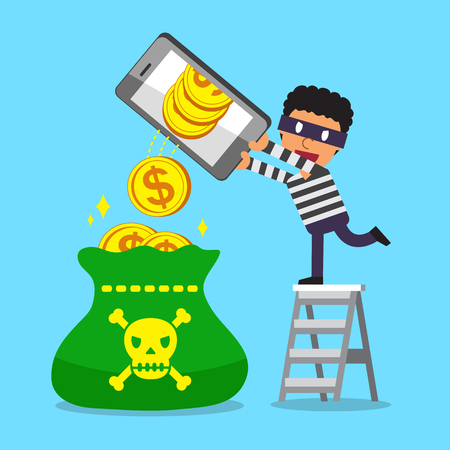 Cartoon a thief using smartphone to earn money Illustration