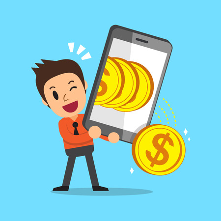 Cartoon businessman using smartphone to earn money