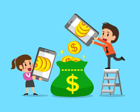 Cartoon business people using smartphones to earn money