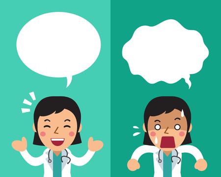 연설 거품과 다른 감정을 표현하는 만화 여성 의사