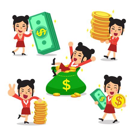 earn money: Set of vector cartoon, a businesswoman with money