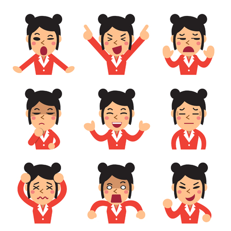 sorrowful: Cartoon a businesswoman faces showing different emotions set