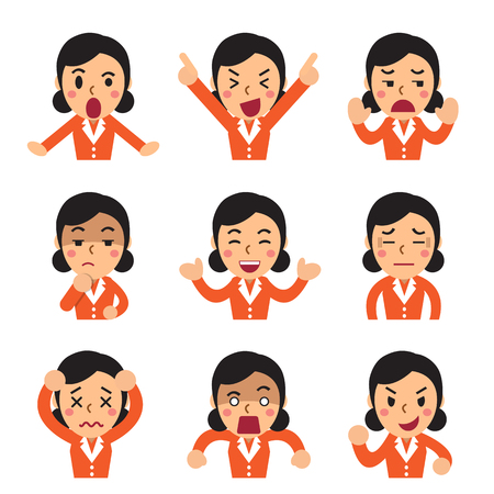 Cartoon a businesswoman faces showing different emotions