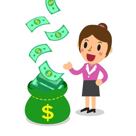 earn money: Cartoon businesswoman earning money Illustration