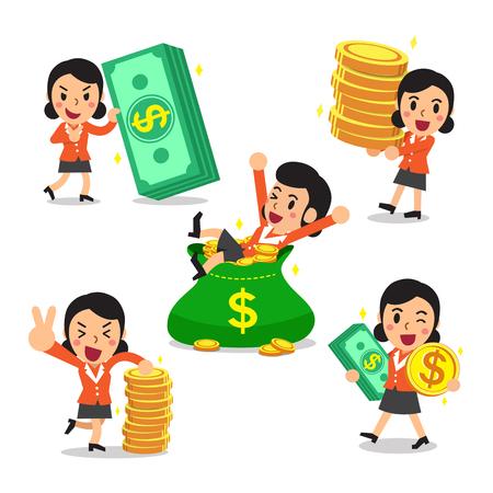 Set van cartoon een zakenvrouw met geld Stock Illustratie