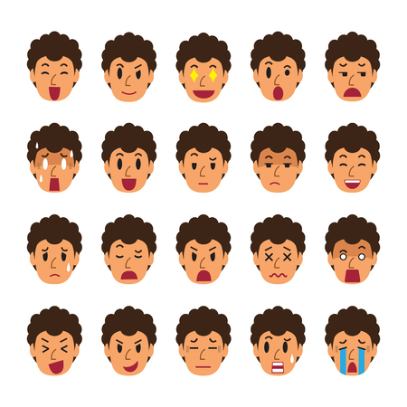 Set of man faces showing different emotions