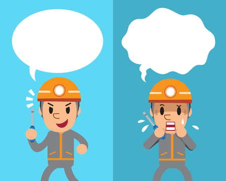Cartoon a technician expressing different emotions with white speech bubbles Illustration