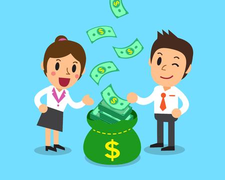 costs: Cartoon business people earning money Illustration