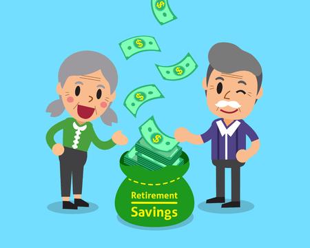rich couple: Cartoon senior people earning money