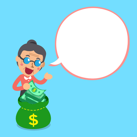passive earnings: Cartoon senior woman and money bag with white speech bubble