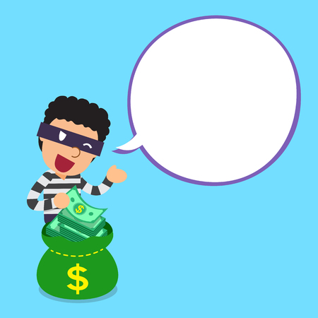 Cartoon thief and money bag with white speech bubble Illustration