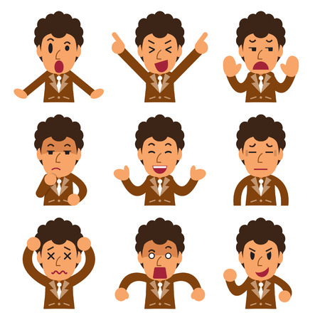 Cartoon a businessman faces showing different emotions