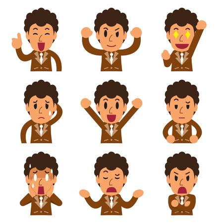 Cartoon businessman faces showing different emotions Illustration
