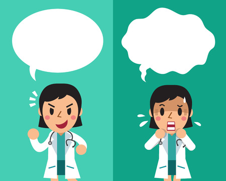 feel good: Cartoon female doctor expressing different emotions with speech bubbles.