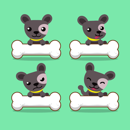 Set of vector cartoon character cute dog with big bones Illustration