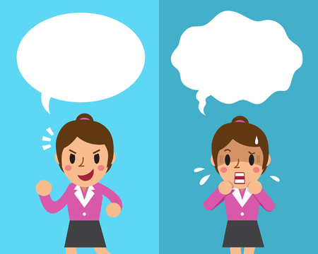 sorrowful: Cartoon businesswoman expressing different emotions with white speech bubbles