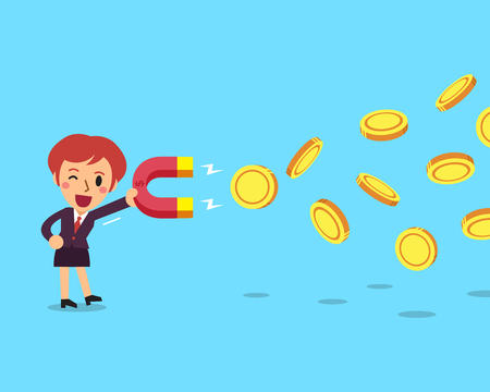 Cartoon business woman using a magnet to attracts money