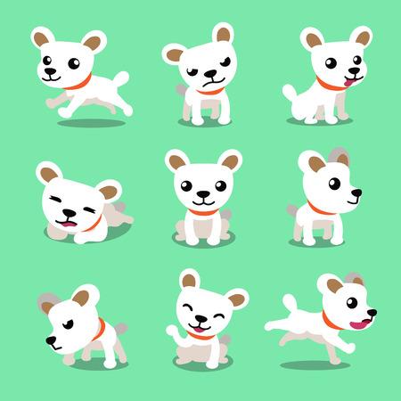 nap: Cartoon character cute white dog poses Illustration