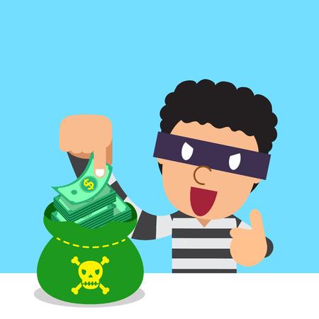 Cartoon thief with money bag