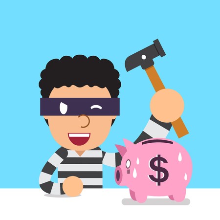 Cartoon thief with piggy bank