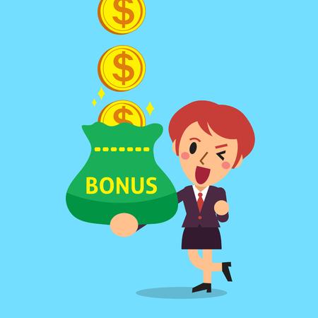 Cartoon businesswoman receiving bonus money Ilustrace