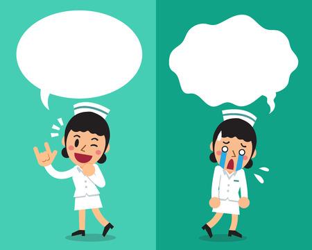연설 거품과 다른 감정을 표현하는 만화 여성 간호사