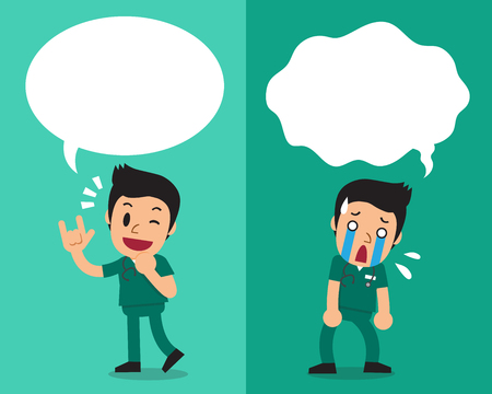 disappoint: Cartoon male nurse expressing different emotions with speech bubbles