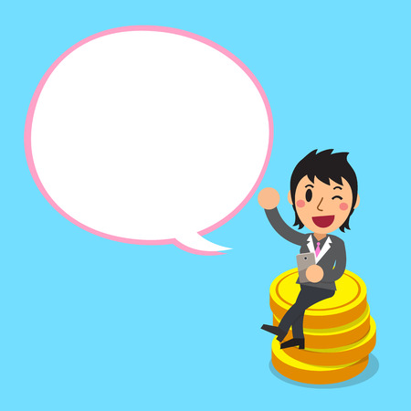 Cartoon a businesswoman sitting on money coins with white speech bubble
