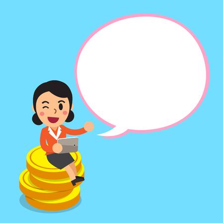 telephone cartoon: Cartoon businesswoman sitting on money coins with white speech bubble