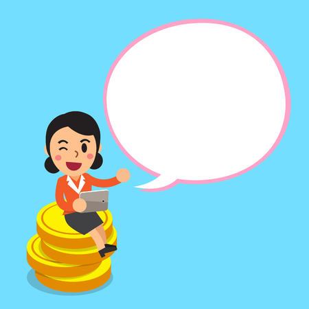 Cartoon businesswoman sitting on money coins with white speech bubble