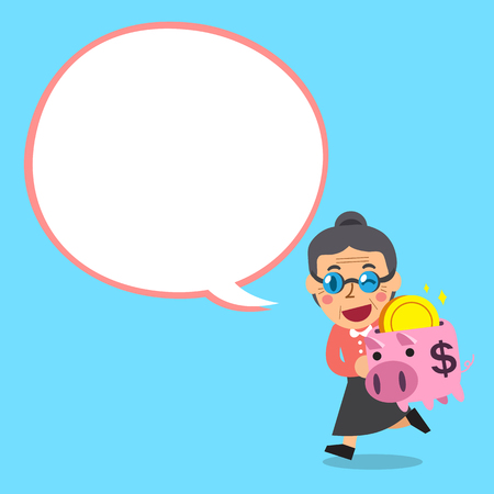passive earnings: Cartoon senior woman carrying piggy bank with white speech bubble