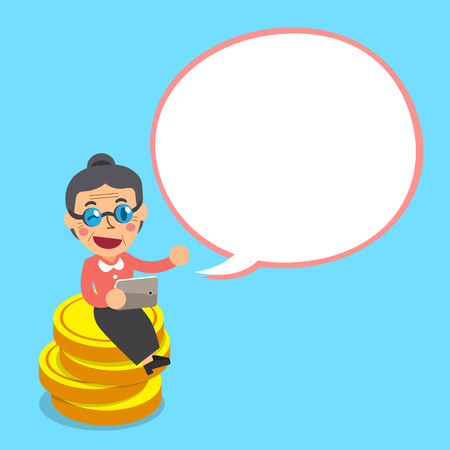 Cartoon senior woman sitting on money coins with white speech bubble
