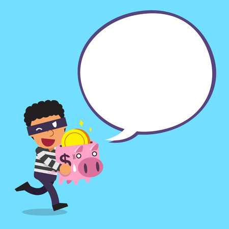 Cartoon thief carrying piggy bank with white speech bubble