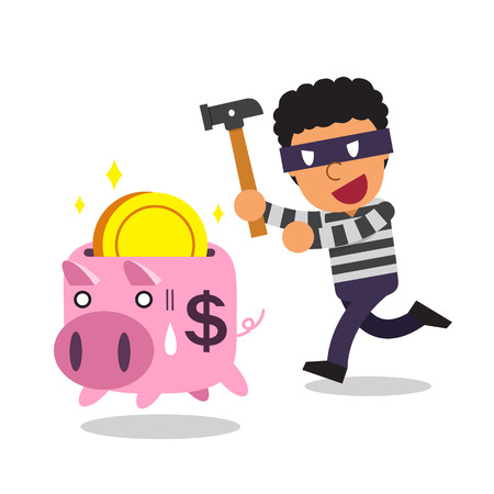 Cartoon thief with piggy bank