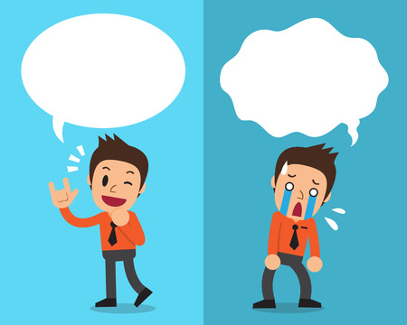 worried executive: Cartoon businessman expressing different emotions with white speech bubbles