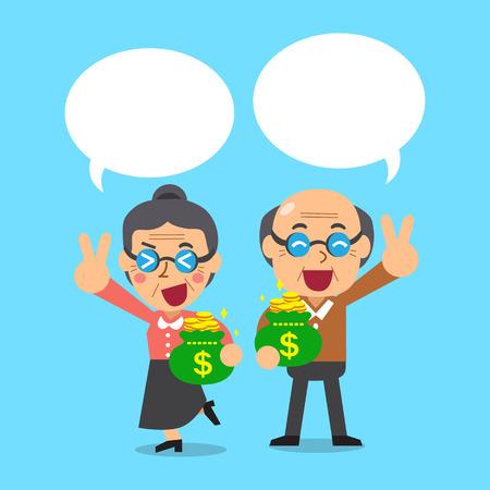 monedas antiguas: Gente senior de dibujos animados con bolsas de dinero con burbujas de discurso Vectores