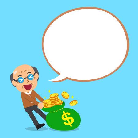 Cartoon senior man and big money bag with white speech bubble
