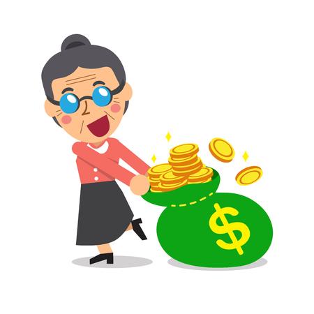 monedas antiguas: Mujer mayor de dibujos animados con el bolso grande del dinero