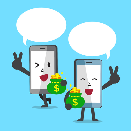 smartphone business: Cartoon character smartphones carrying money bags with speech bubbles