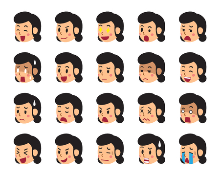 disappoint: Cartoon woman faces showing different emotions