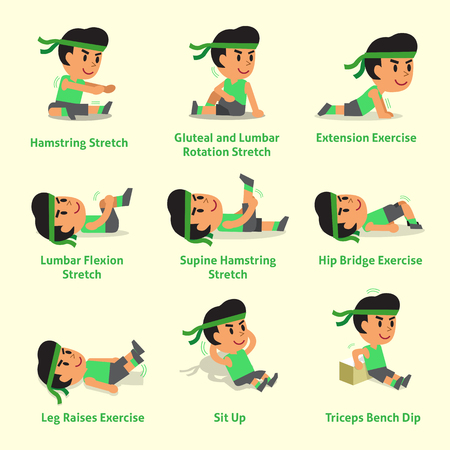 Cartoon set of a man doing warm-up and exercises