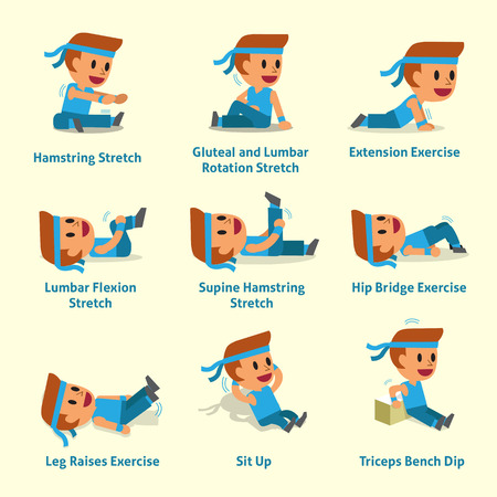 Cartoon set of man doing warm-up and exercises