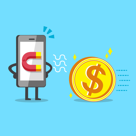 using smartphone: Cartoon smartphone using magnet icon to attracts big money coin