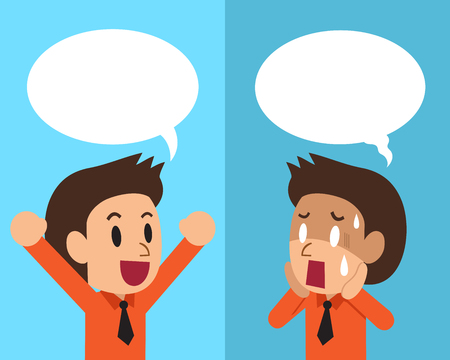 Cartoon businessman expressing different emotions with speech bubbles