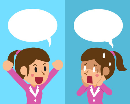 disappoint: Cartoon businesswoman expressing different emotions with speech bubbles Illustration