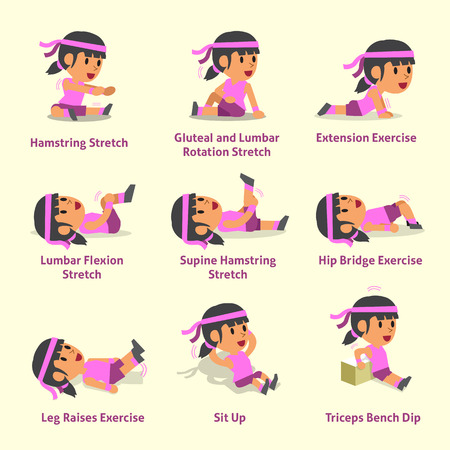 Cartoon set of woman doing warm-up and exercises Illustration