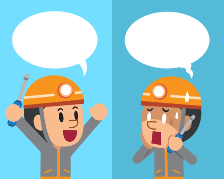 Vector cartoon a technician expressing different emotions with speech bubbles