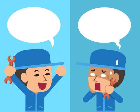 연설 거품과 다른 감정을 표현하는 기술자를 만화